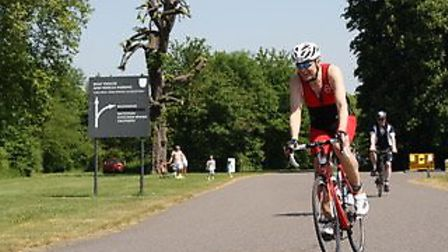 John O'Neill on his bike during a practice triathlon. Picture: Robert O'Neill