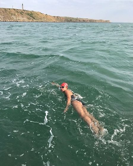 Amelie Noor brings the team into the Cap Gris Nez after 13 hours and 23 minutes. Picture: Sarah Leip