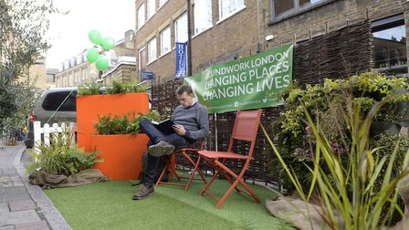 Hackney Council trialled parklets in Shoreditch last year, for Car Free Day 2017. Picture: Hackney C