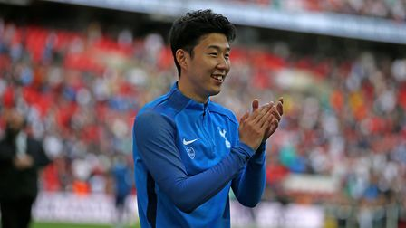 Tottenham Hotspur's Heung-min Son applauds fans during a end of season lap of honour at Wembley Stad