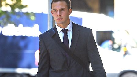 Pc Joshua Savage arrives at Southwark Crown Court to stand trial over allegations of common assault,