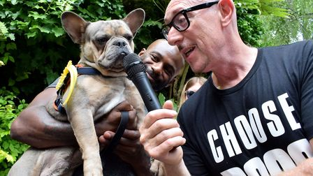 Compere Phil Lassman interviews Mr Hampstead contestant, Marcel the French Bulldog, with his dad Ste