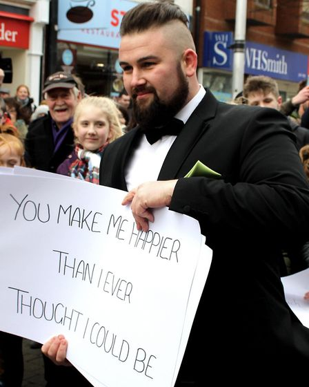 Leon Culley recruited a flash mob to propose to his girlfriend. Picture: Guy Smith Photography