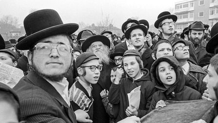 Hasidic men and boys celebrate the Blessing of the Sun Festival, Birkat Hachama, in 1981. Picture: N