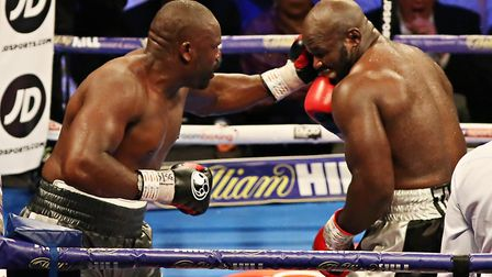 Dereck Chisora hits out (pic Natalie Mayhew/Butterfly Boxing)
