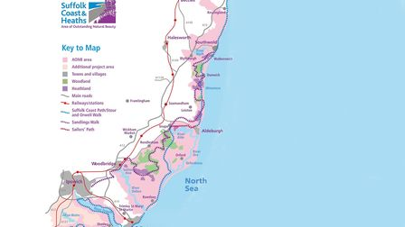 A map of the Suffolk Coast & Heaths Area of Outstanding Natural Beauty. Picture: SUFFOLK COAST & HEA
