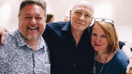 Retiring librarian Richard Boon with Stoke Newington Literary Festival organiser Liz Vater and autho
