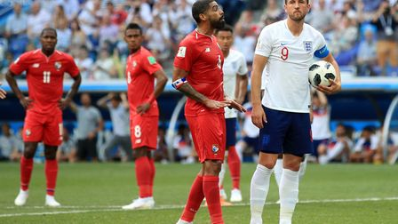 England's Harry Kane (right) prepares to take a penalty during the FIFA World Cup Group G match agai