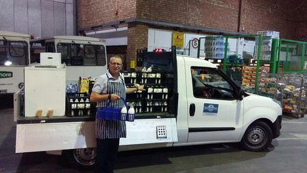 Peter Bircham and hs milk truck in the early hours. Picture: Peter Bircham