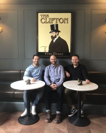 Ben Robson, Adam Gostyn, and Ed Robson at the Clifton pub in Maida Vale. They are set to reopen the