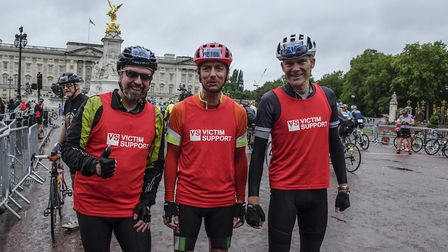 Paul Colley, Dominic Turner and Will Roberts after the RideLondon-Surrey 100. Picture: Victim Suppor