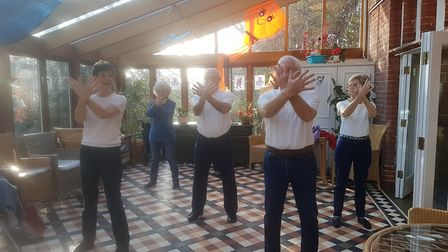 The Suffolk Tai Chi Academy's Southwold group visited Oaklands House residential home. Picture: Oakl