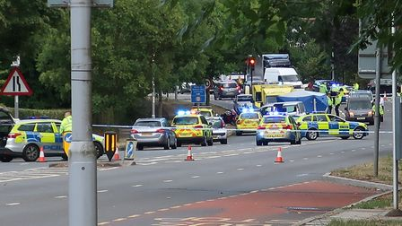 The scene in Falloden Way after the crash on Tuesday afternoon. Picture: Peter McCluskie