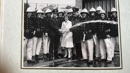 Betty with firefighters at Kingsland Fire Station.