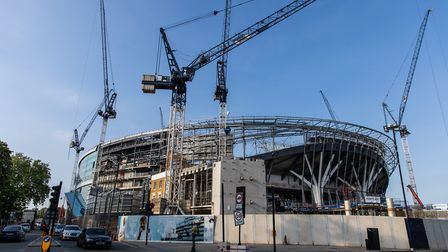 A general view of the ongoing contruction of Tottenham Hotspur's new stadium in London (pic: Steven