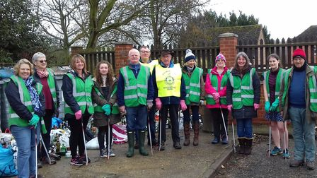 Volunteers in Woodbridge take part in a litter pick for the Love East Suffolk campaign. Photo: Waven