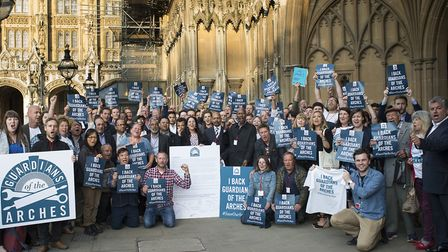 Arches traders outside Parliament after the meeting on Tuesday.