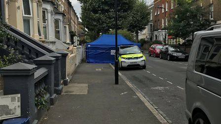 The scene of the incident in Glenarm Road, Hackney