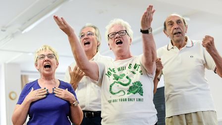 Residents of the Oldfield Estate rehearse for their opera roles. Picture: Central and Cecil Housing