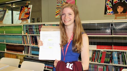 High achiever Karolina Bentkowska opening her results at Westminster Academy. Photo by Westminster A