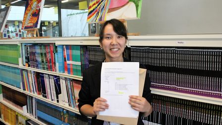 Top performer Tatiana Nishizono-Miller opening her results at Westminster Academy. Photo by Westmins