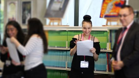 Students opening their results at Westminster Academy. Photo by Westminster Academy