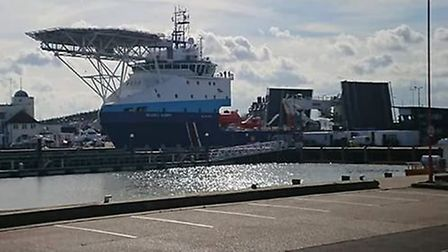The Ievoli Ivory docked in Lowestoft harbour on Sunday afternoon. PICTURE: Debbie Girling