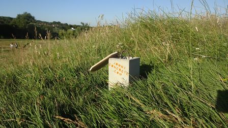 One of the concrete doorstops hidden on the Heath.This one has since been found. Picture: Jonny Conc