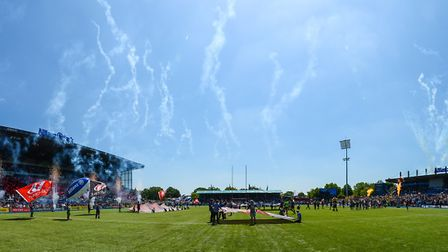 After every match, the artificial pitch at Allianz Park is opened up for fans to pour onto