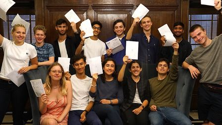 UCS Hampstead students collecting their A-level results. Photo by UCS Hampstead