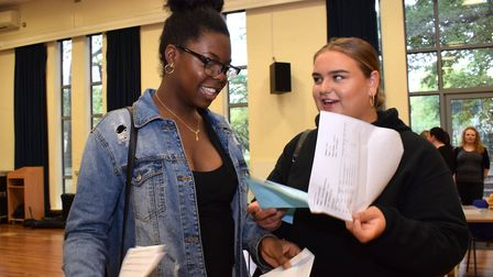 Dina Nebi and Phoenix Murray were thrilled with their A-level results. Picture: Polly Hancock
