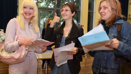 Lana Lomax, Ella White and Leila Arafa from LaSWAP were all delighted with their A-levels. Picture: