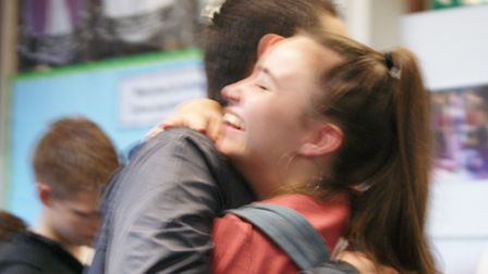 Students celebrating receiving their results at Fortismere School. Photos by Fortismere School
