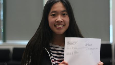 Our Lady's Convent High School student Mandy Tan picking up her A-level results. Photo by Our Lady's