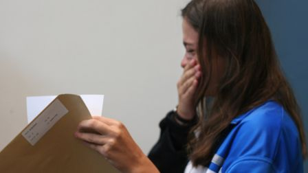 Our Lady's Convent High School student Diana Sufaj picking up her A-level results. Photo by Our Lady