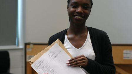 Our Lady's Convent High School student Angela Takyi picking up her A-level results. Photo by Our Lad