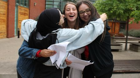 Students collecting their A-level results at Clapton Girls' Academy. Photo by Clapton Girls' Academy