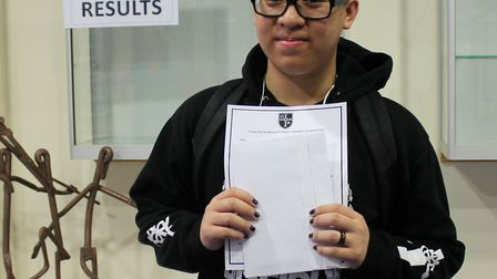 Greig City Academy student Jackie Le collecting his A-level results. Photo by Greig City Academy