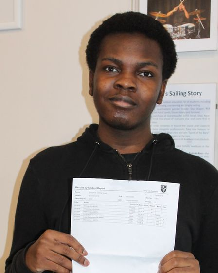 Greig City Academy student Gabriel Durojaiye collecting his A-level results. Photo by Greig City Aca