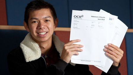 UCL Academy student Alex Liow collecting his A-level results. Photo by Randi Sokoloff
