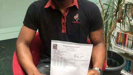 Mossbourne Community Academy sixth former Franklin Nnodi achieved great results despite breaking his