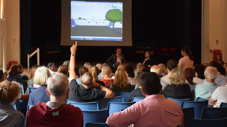 Questions from the floor at the Henrietta Barnett School's expansion meeting on Thursday. Picture: P