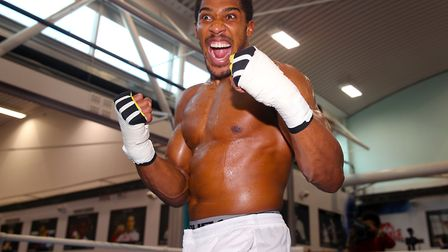 Anthony Joshua in training ahead of the defence of his world heavyweight titles against Alexander Po