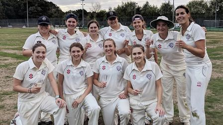 Hampstead women celebrate their Southern League Collins Division title success (pic: Hampstead CC)