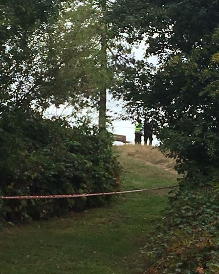 Officers investigating the drugs lab on Hampstead Heath. Picture: David Douglas