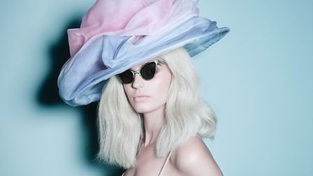 """Noel Stewart's silk organza """"cloud hat"""" with a holographic brim . Picture: SS15 by Matthew Shave"""