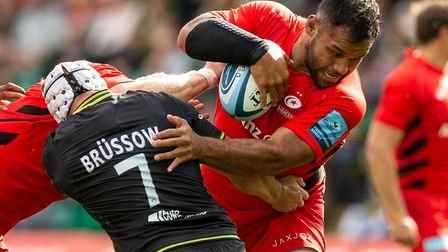Saracens' Billy Vunipola and Northampton Saints' Heinrich Brussow during the Gallagher Premiership m
