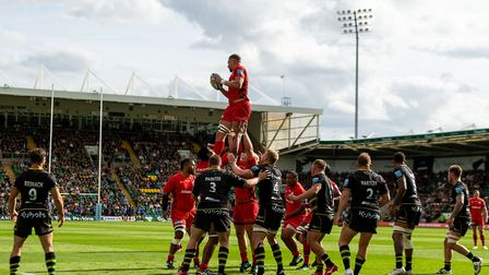 Saracens' Nick Isiekwe wins a lineout during the Gallagher Premiership match at Franklins Garden's,
