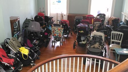 Buggies parked up in Clissold House. Picture: Hackney Council
