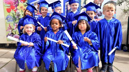 Four year olds celebrate graduating at Chaston Nursery. (Back row from left: Ayra Blom-Zaman, Maisie
